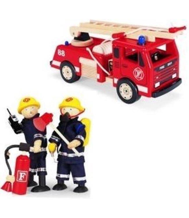 Pintoy | Houten Brandweerwagen | inclusief 2 Brandweermannen | 3+