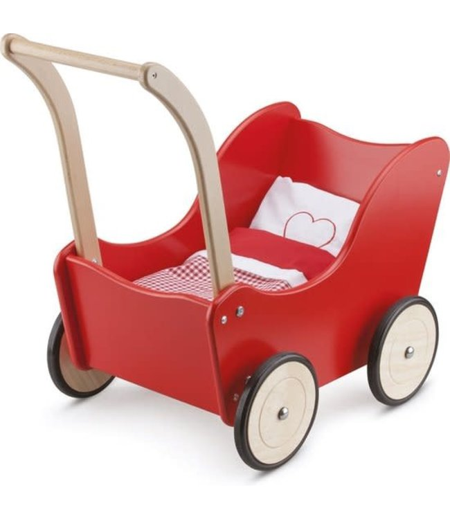 New Classic Toys   Poppenwagen   inclusief Beddengoed   Rood   1+