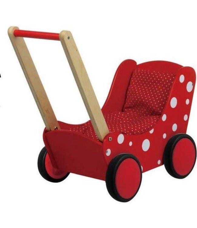 Simply For Kids   Poppenwagen   inclusief Beddengoed   Rood met witte Stippen   1+