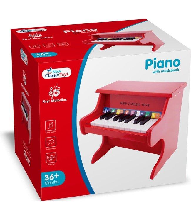 New Classic Toys | Houten Piano | Rood | 18 toetsen | 1+