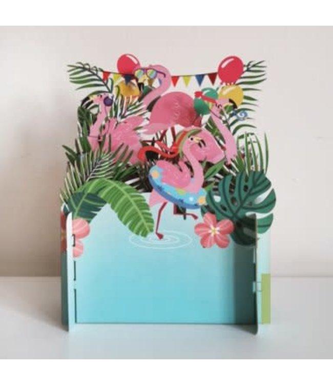 Alljoy Design | 3D | Pop-up Kaart | Flamingo's