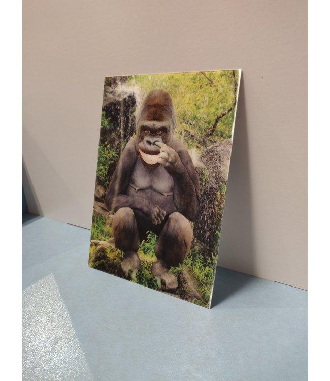Lenticulaire Kaart Bewegend   Lachende Gorilla