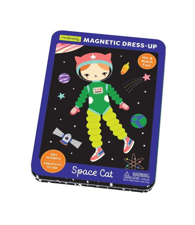 Mudpuppy | Magnetic Dress-Up | Space Cat | 50 magnets | 4+