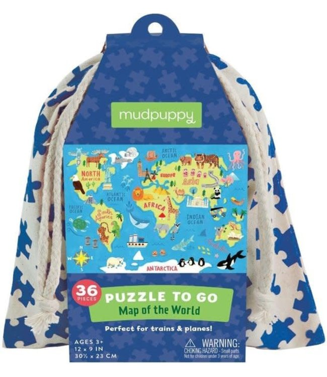 Mudpuppy   Puzzle To Go   Map of the World   36 pcs   3+