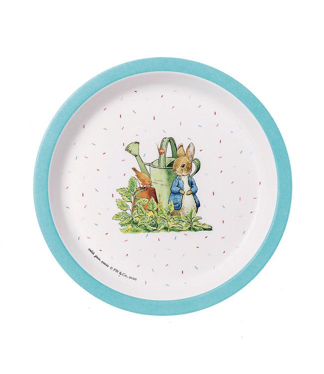 Petit Jour   Peter Rabbit   Bord Met Opstaande Rand   18 cm   Blauwe rand   +6 mnd
