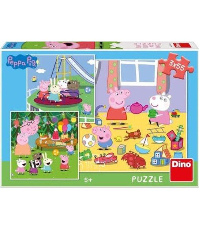 Dino Toys | Puzzel | Peppa Pig | Vakantie | 3 x 55 stukjes | 5+