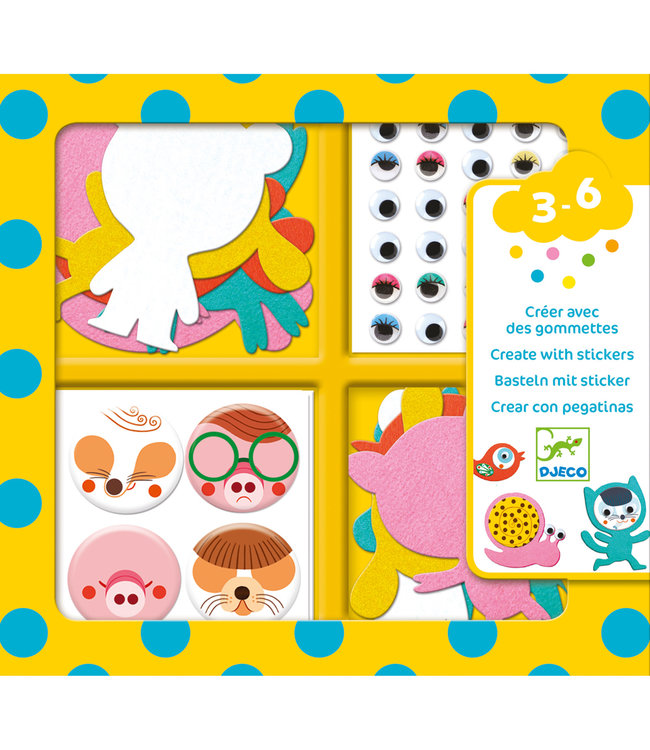 Djeco | Create With Stickers | I Love Animals | 3-6 jaar