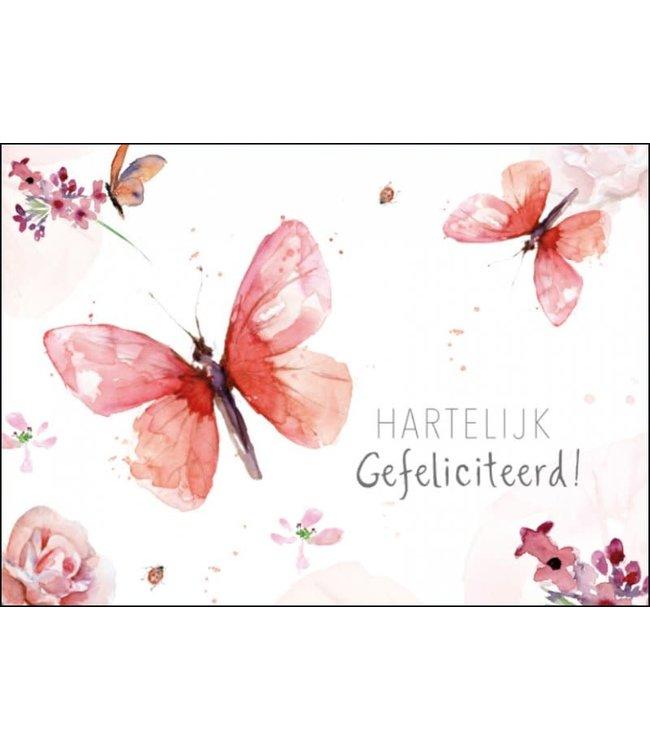 Bekking & Blitz | Michelle Dujardin | Hartelijk Gefeliciteerd !| Rood-roze  Vlinder