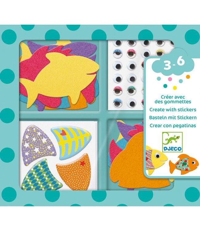 Djeco | Create With Stickers | I Love Fish | 3 - 6 jaar