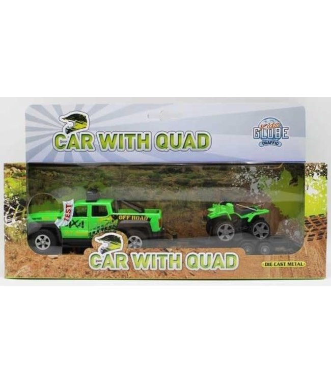 Kids Globe | Terreinwagen met quad | met licht en geluid | 29 cm | 3+
