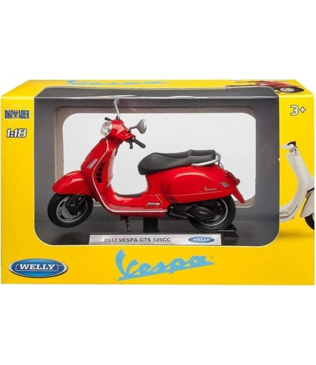 Welly   Vespa 125 CC   2017   Red   1:18   10 cm   3+
