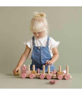 Little Dutch Little Dutch | Houten Blokkentrein | Roze | 17 delig | 45 cm | 1+
