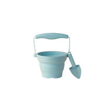 Scrunch Scrunch | Opvouwbare Emmer met schepje | 14 cm | Eendenei blauw | 3+