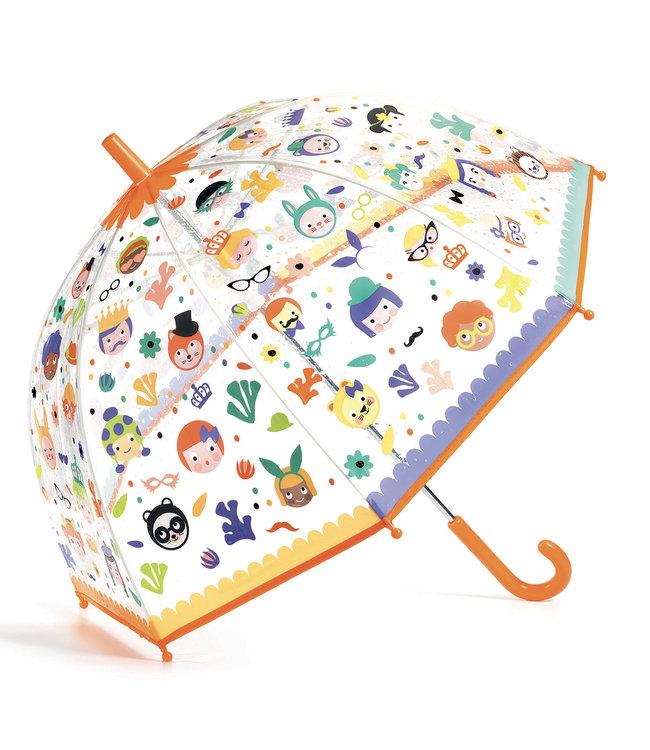 Djeco | Paraplu | 70 cm | Verandert van Kleur in de Regen | Gezichten | 3+