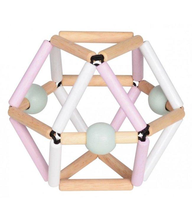 Blue Ribbon   Flexibele Houten Rammelaar   Nordic Pink   0+