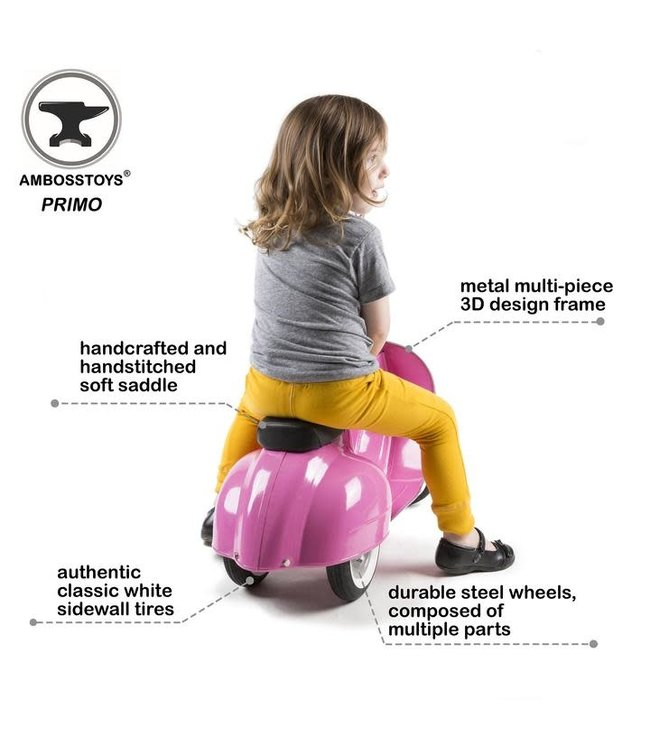 Ambosstoys | Primo | Classic Kids Ride On Scooter | Pink | 1-5 Jaar
