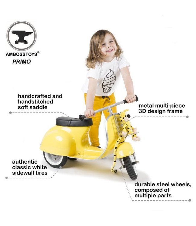 Ambosstoys   Primo   Classic Kids Ride On Scooter   Yellow   1-5 Jaar