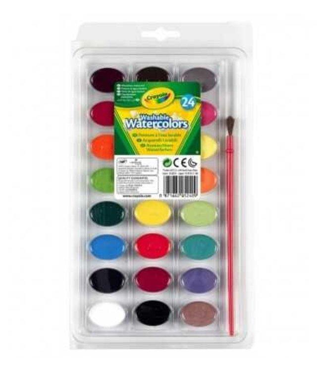 Crayola | Uitwasbare Waterverf | 24 kleuren + kwastje | 3+