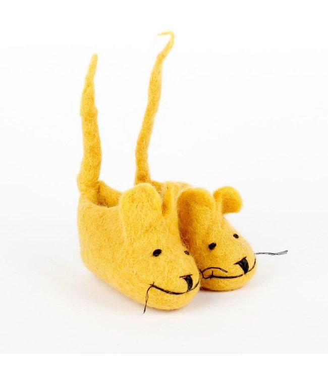 Vilten Slofjes   Muis met Staart   Okergeel   10 cm   Maat 17     0-9 maanden