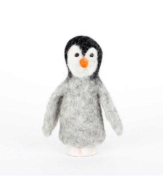 Vingerpopje van Wolvilt | Pinguïn  | Massief vilten hoofdje | 11,5 cm | 3+