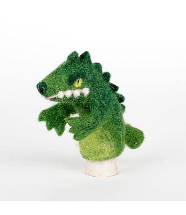 Vingerpopje van Wolvilt   Krokodil    Massief vilten hoofdje   11,5 cm   3+