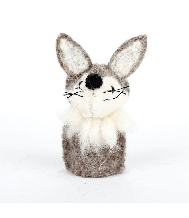 Vingerpopje van Wolvilt | Wolf  | Massief vilten hoofdje | 11,5 cm | 3+