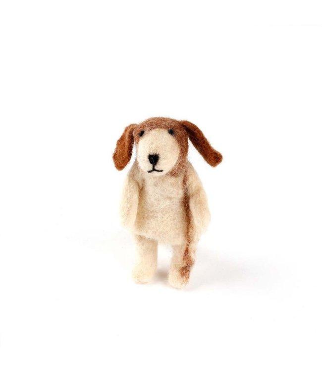 Vingerpopje van Wolvilt   Hond    Massief vilten hoofdje   11,5 cm   3+