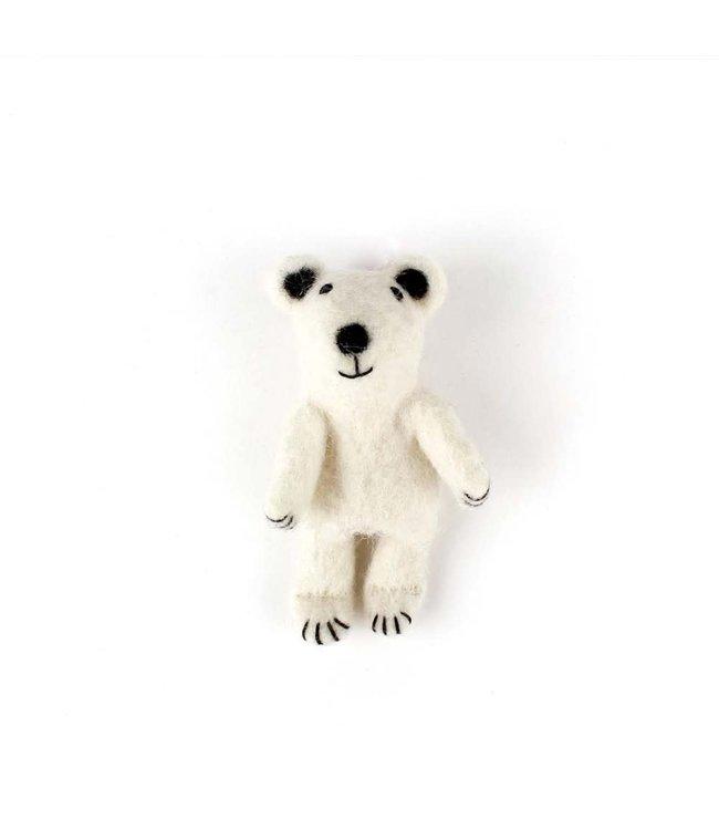 Vingerpopje van Wolvilt | IJsbeer  | Massief vilten hoofdje | 11,5 cm | 3+