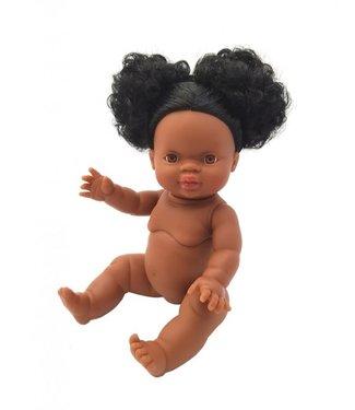 Paola Reina Paola Reina   Gordi Babypop   Meisje met Bruine Ogen   Zwart Haar in Twee Knotten   Audrey   34 cm