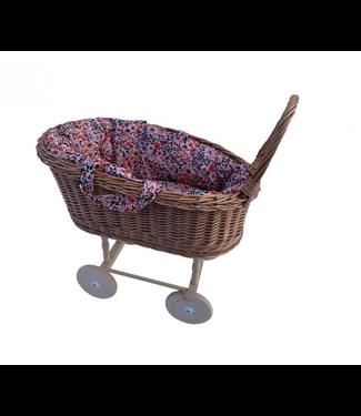 Hollie  | Rieten Poppenwagen met uitneembare Draagmand | Retro Flowers | 2+