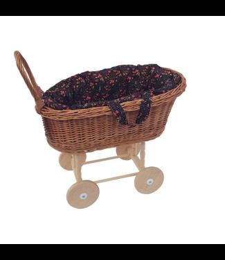 Hollie  | Rieten Poppenwagen met uitneembare Draagmand | Black Flowers | 2+