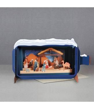 Alljoy   Message in a Bottle   3D   Pop-up Kerstkaart   Nativity Scene