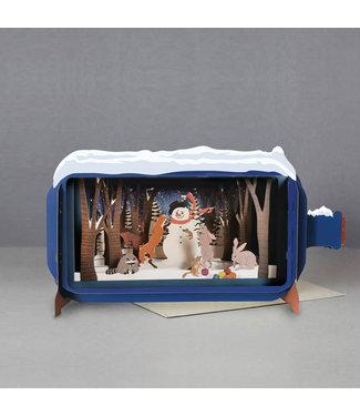 Alljoy   Message in a Bottle   3D   Pop-up Kerstkaart   Snowman in the Forrest