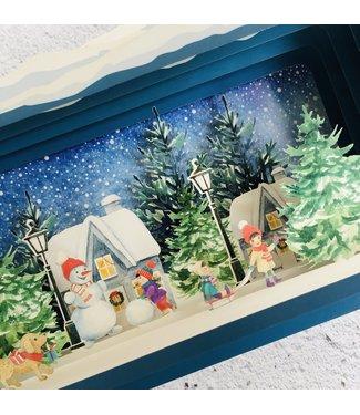 Alljoy   Message in a Bottle   3D   Pop-up Kerstkaart   Village Snowman