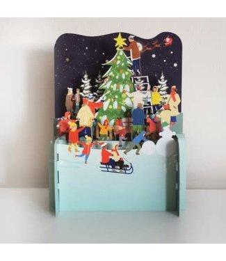 Alljoy Design   3D   Pop-up Kerstkaart   Kerstboom optuigen