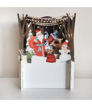 Alljoy Design   3D   Pop-up Kerstkaart   Santa visiting the Animals