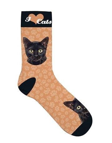 Merkloos Sokken kat zwart