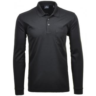 RAGMAN Polo Shirt langarm -SCHWARZ