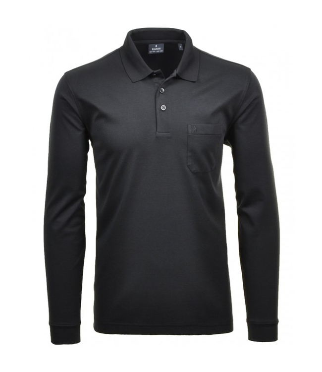 RAGMAN Polo Shirt langarm - SCHWARZ