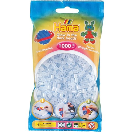 Hama Hama Strijkkralen 0057 Glow in the dark blauw 1000 st.