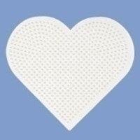Hama strijkkralen Grondplaat Hart groot wit 233