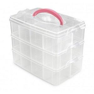 Kunststof opbergbox met 3 lagen