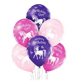 Belbal latex ballon birthday unicorn 6 stuks