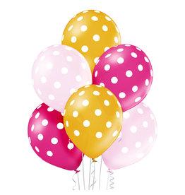 Belbal latex ballon polka dots girl 6 stuks