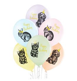 Belbal latex ballon birthday pets 6 stuks
