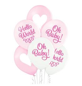 Belbal latex ballon oh baby girl 6 stuks