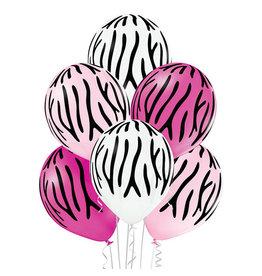 Belbal latex ballon zebra stripes 6 stuks