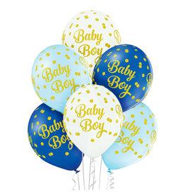 Belbal latex ballon baby boy dots 6 stuks