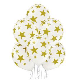 Belbal latex ballon stars wit goud 6 stuks