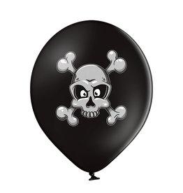 Belbal latex ballon skull and crossbones 6 stuks